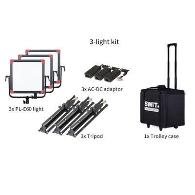Swit PL-E60 3-Light-Kit Portable Bi-color SMD Panel LED Light
